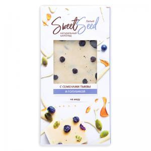 Шоколад белый на меду с голубикой и семенами тыквы,