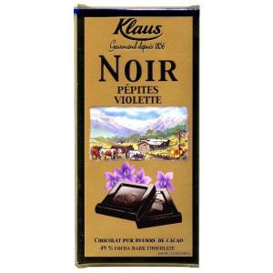 Горький шоколад с кусочками фиалки, Klaus Франция (100г)