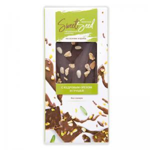 Шоколад молочный на основе кэроба с грушей и кедровым орехом,
