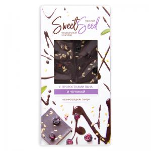 Шоколад горький на виноградном сахаре с проростками льна и черникой,